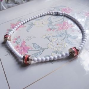 Vintage Beaded Costume Necklace White Coral Gold